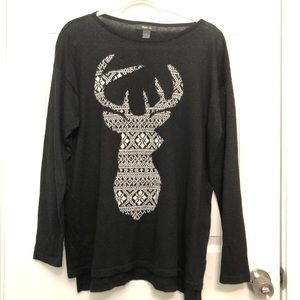 Shimmering Reindeer Sweater Style & Co EUC